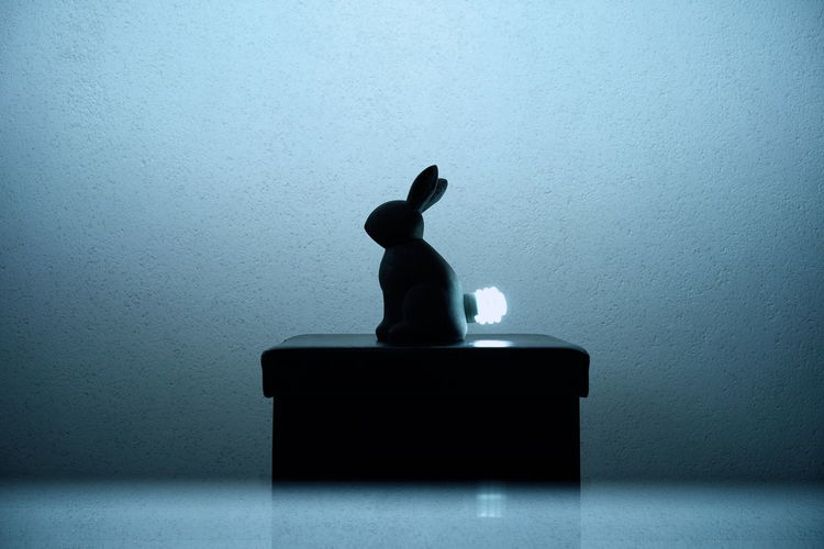 Silhouette bunny sculpture on gift box against wall