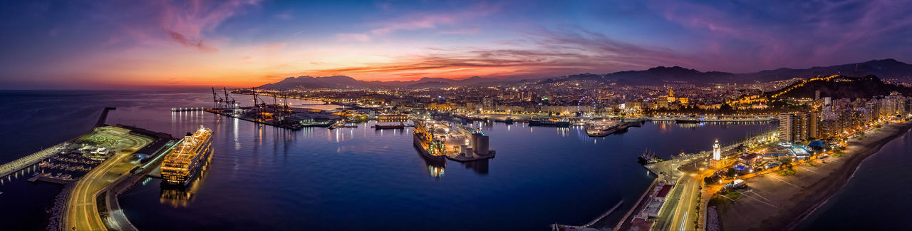 Sunset in the Port of Málaga Mavic SPAIN Drone  Golden Hour Dji Aerial View City Illuminated Sunset Cityscape Nautical Vessel Water Panoramic Sea