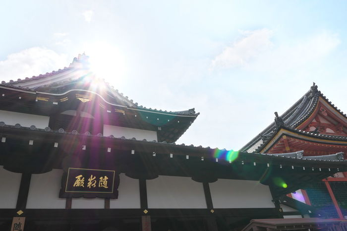 Architectural Feature Architecture Blue Built Structure Cloud Cloud - Sky Cultures Day Decoration Japan Kioto Kyoto,japan Low Angle View Multi Colored No People Outdoors Place Of Worship Sky Sun Sunbeam Sunlight Temple - Building 京都