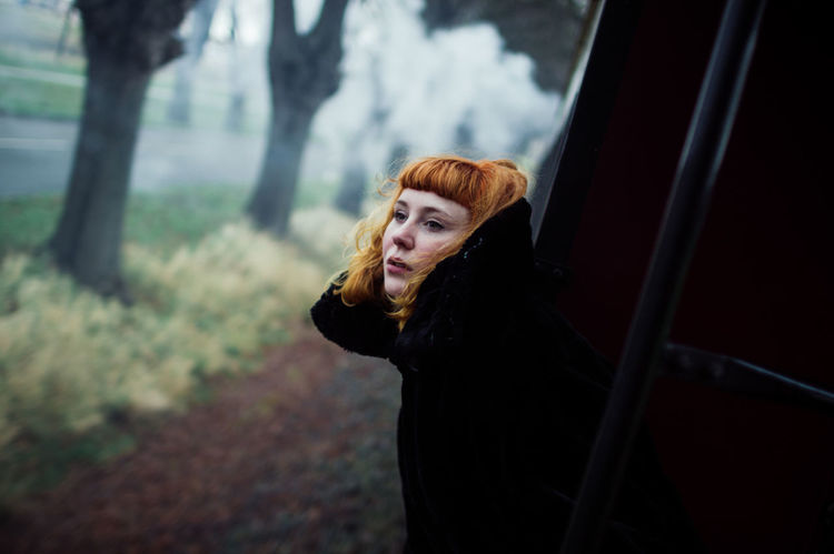 Hair MOVIE Smoke Walk Winter Beautiful Woman Conceptual Conceptual Photography  Girl Girls Nature Oldtrain Outdoors People Photography Red Color Redhair Redhead Train Vintage Women Of EyeEm Young Women