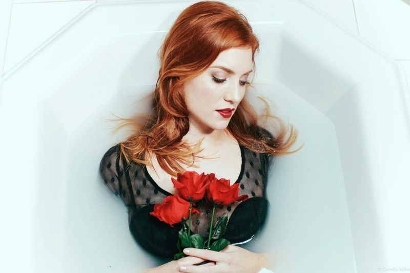 Bathroom Water Flower Fashion Women Beauty Long Hair Redhead Beautiful Woman Portrait International Women's Day 2019