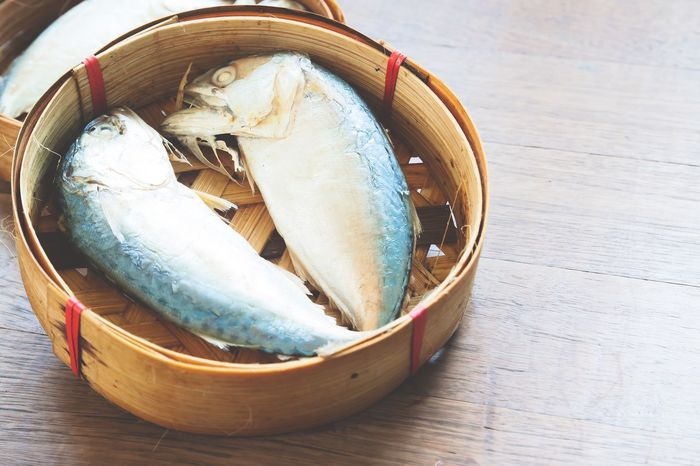 Steamed mackerel in tray Basket Close-up Fish Food Food And Drink Food Tray Freshness Healthy Eating Healthy Food High Angle View Indoors  Mackerel No People Raw Food Seafood Steamed  Still Life Table