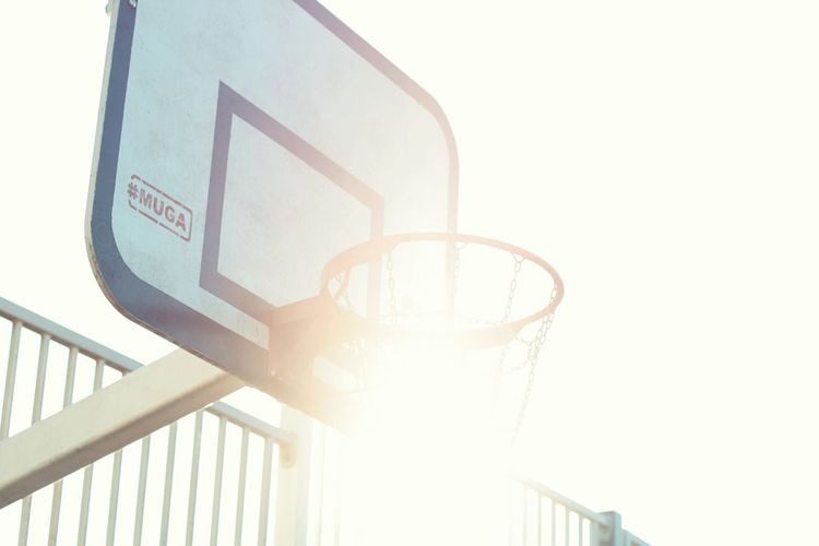 Basketball hoop Railing Communication Architecture Low Angle View Sunlight Nature Sky Built Structure No People Clear Sky Outdoors Text Western Script Copy Space Lens Flare Day Sign Staircase Back Lit The Street Photographer - 2018 EyeEm Awards The Great Outdoors - 2018 EyeEm Awards Capture Tomorrow