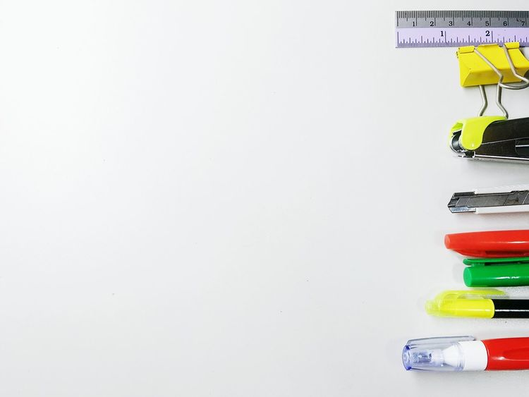 Copy Space Office Supply Pencil Office Education Indoors  Adhesive Note No People Multi Colored Paper White Background Day Close-up Business Finance And Industry Color Office Office Tools Tools Backgrounds White Color One Man Only White Background Indoors Finance Tool Kit Indoors