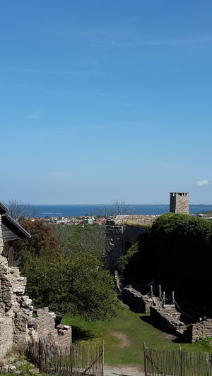 Beauty In Nature Blue Borgholm Borgholms Slottsruin Borgholmslott Clear Sky Green Color High Angle View Horizon Over Water Nature Outdoors Plant Scenics Sea Shore Sky Tourism Tourist Resort Tranquil Scene Tranquility Travel Destinations Vacations Water Wide Wide Shot