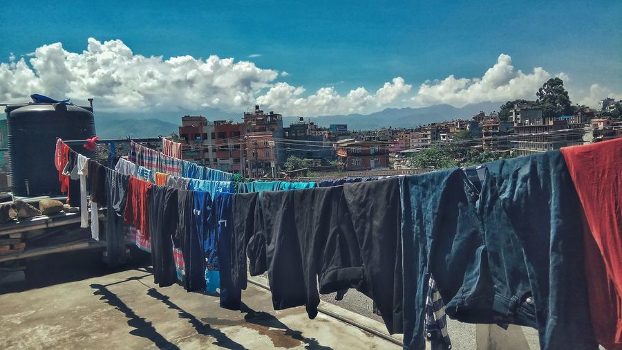 EyeEm Selects One Sunny Day Clouds And Sky Rooftop View  Hanging Clothes PhonePhotography EyeEmNewHere