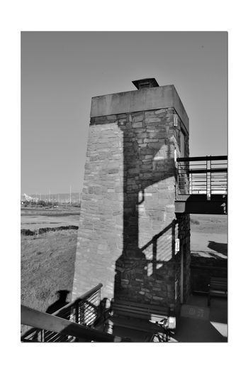 Observation Tower 3 Middle Harbor Close-up Port Of Oakland Ca Brick Column Lamps Stairs Handrails Shadows Cranes Lamp Posts Architecture Architectural Feature View From Deck Of Tower Sky Monochrome Monochrome Photograhy Black & White Black And White Photography Black And White Black And White Collection  Grayscale