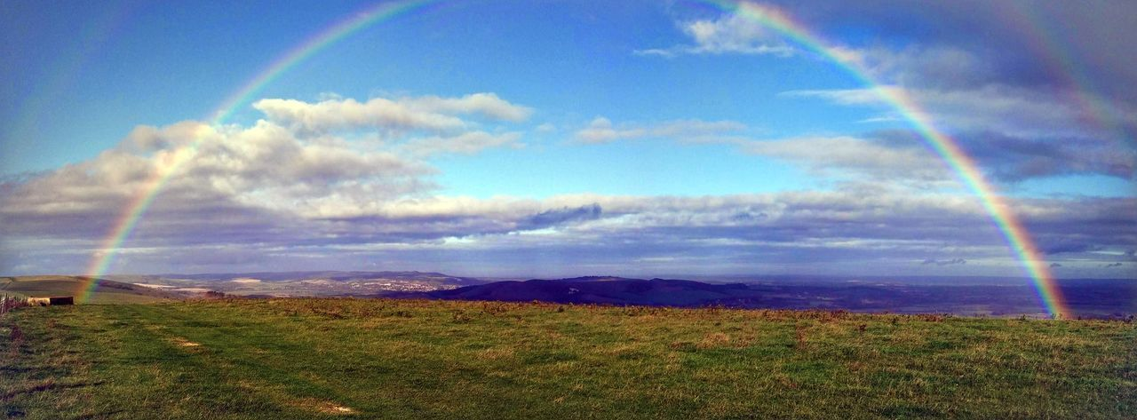Rainbow Scenics Beauty In Nature Cloud - Sky Tranquility Outdoors Tranquil Scene South Downs Uk Lewes