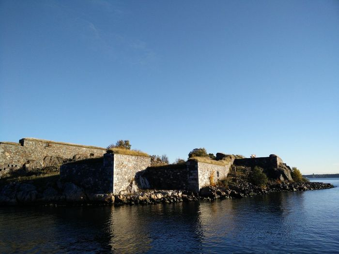Architecture Blue Building Building Exterior Built Structure Castle Clear Sky Coast Fortress Copy Space Day Fort Fortress History Nature No People Outdoors Sea Fort Sea Fortress Sky Suomenlinna The Past Travel Travel Destinations Water