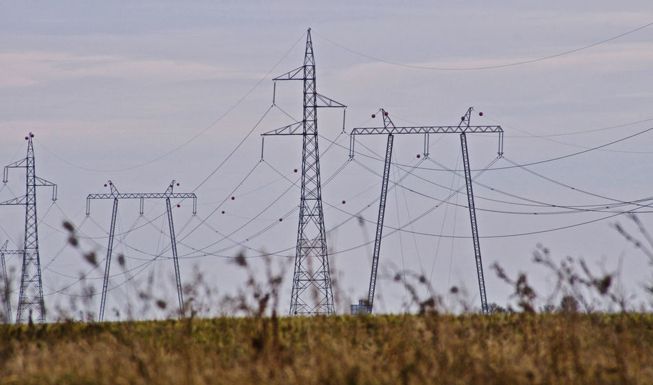 Cable Cloud - Sky Connection Day Electricity  Electricity Pylon Giants Grass Nature No People Outdoors Power Line  Power Supply Sky Technology Eye4photography  Transmission Line Tower Transmission EyeEmNewHere