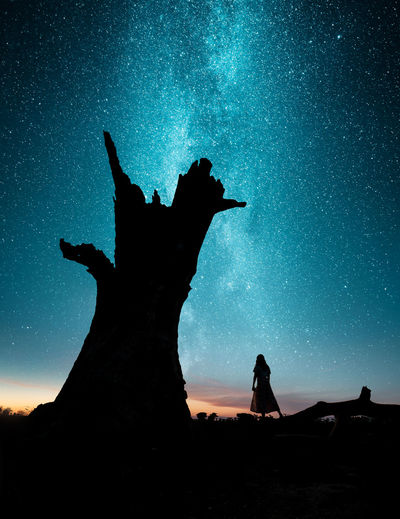 Sky Silhouette Night Star - Space Real People One Person Leisure Activity Nature Scenics - Nature Beauty In Nature Standing Astronomy Lifestyles Land Space Low Angle View Outdoors Tree Tranquility