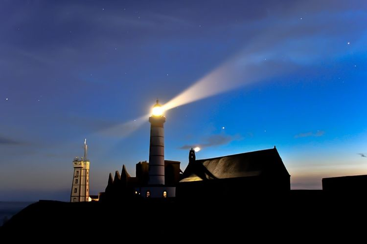 Light Brittany Bretagne Nuit St Mathieu Lighthouse Phare Built Structure Star - Space No People Lighthouse Outdoors Space Low Angle View Illuminated Silhouette