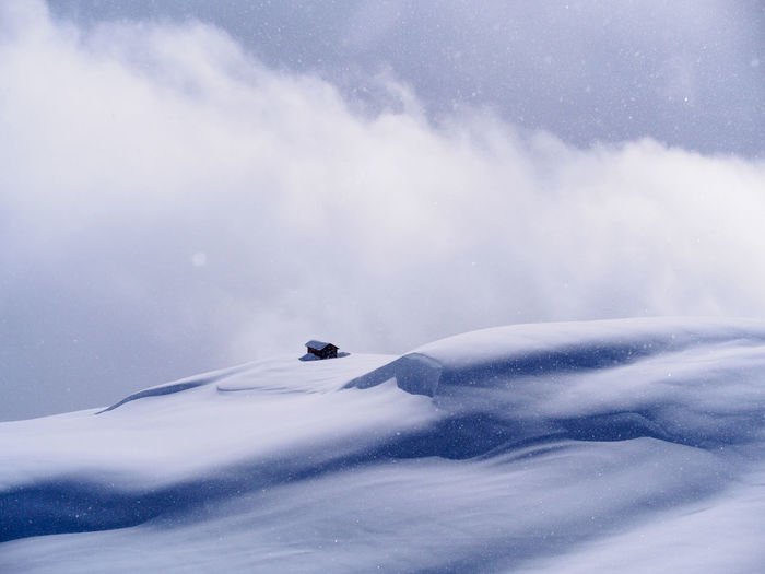 Snow on mountain against sky