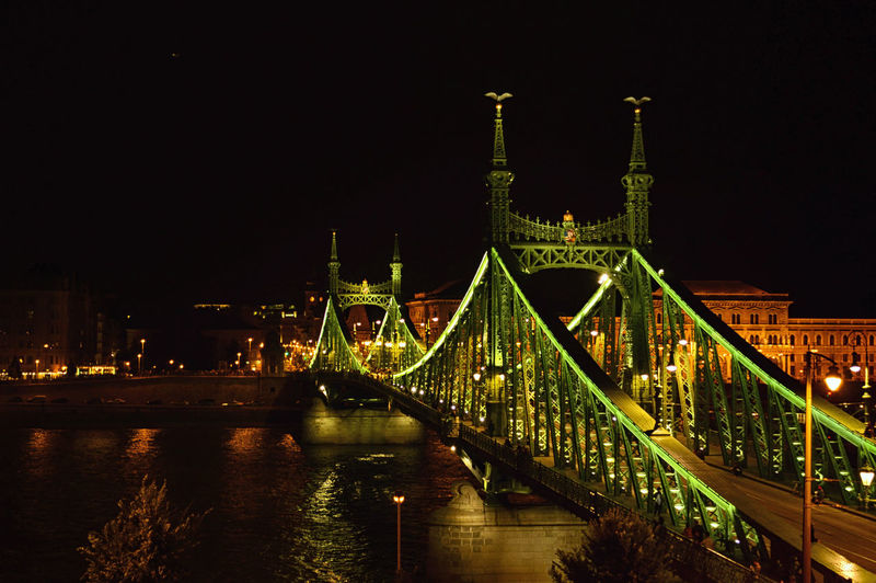 Illuminated liberty bridge over danube river at night