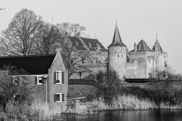Castle Muiderslot Monochrome Blackandwhite Dutch Landscape