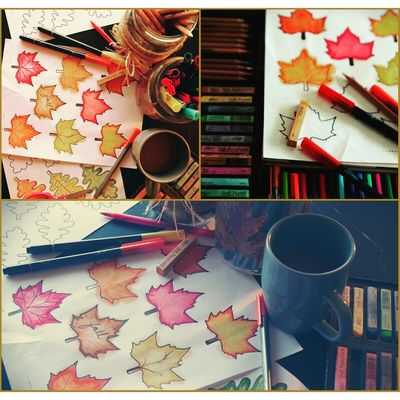 Make your own kind of Autumn🎵🎶 High Angle View Plate Table Indoors  Spoon Arrangement Collection Large Group Of Objects Kitchen Utensil Choice Medium Group Of Objects Order Tray Place Setting Man Made Object In Front Of Coffee No People Fall Fall Colors Leaves Hello World Close-up Focus On Foreground Art art