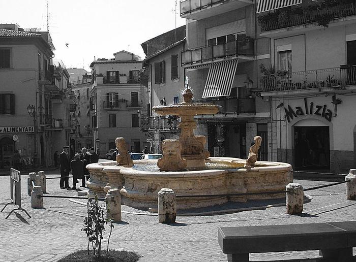 Piazza Mazzini Square Velletri Fontaine Fontana Bllackandwhite Black And White And Color No People