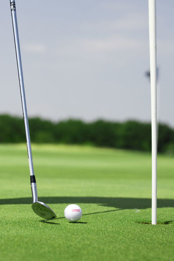 Picture of golf landscape with golfball and club Ball Close-up Day Golf Golf Ball Golf Club Golf Course Golf Flag Golfer Grass Green - Golf Course Leisure Activity No People Outdoors Putting Green Sky Sport Taking A Shot - Sport