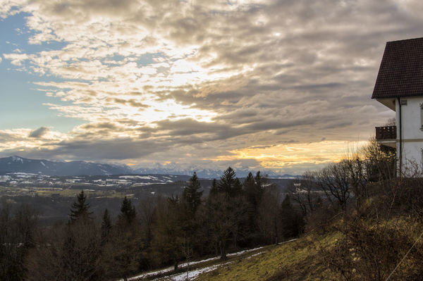 view from Peißenberg Architecture Bare Tree Beauty In Nature Building Exterior Built Structure Cloud - Sky Cold Temperature Day Landscape Mountain Nature No People Outdoors Scenics Sky Snow Sunset Tranquil Scene Tranquility Tree Winter