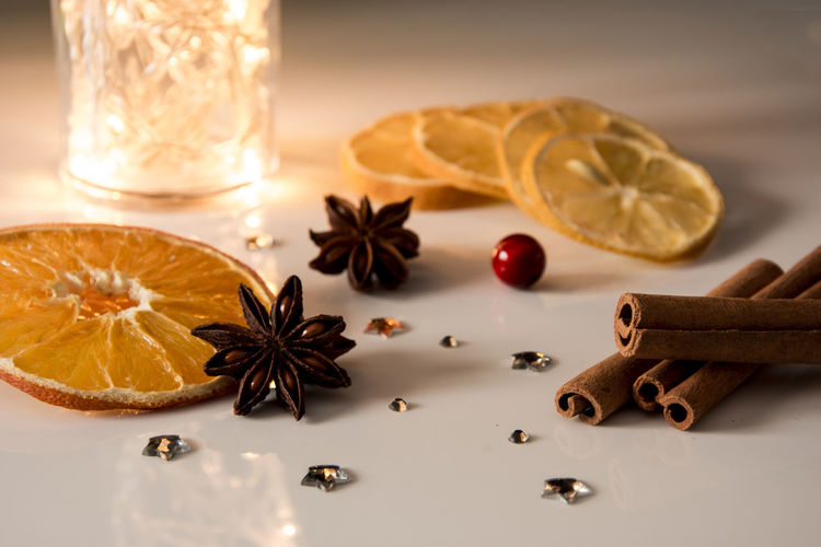 Close-up of christmas ingredients on table
