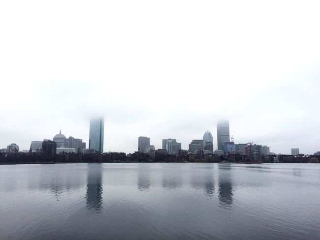 Cityscapes Skyline Showcase: January Boston Charles River Grey Riverside City Urban Geometry Reflection Water Urban Landscape Misty Landscapes With WhiteWall