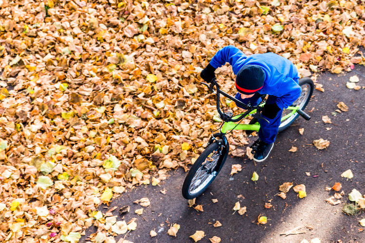 High Angle View Of Boy On Bicycle