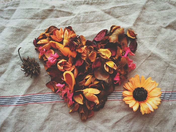 Directly Above View Of Autumn Leaves Arranged As Heart On Cloth
