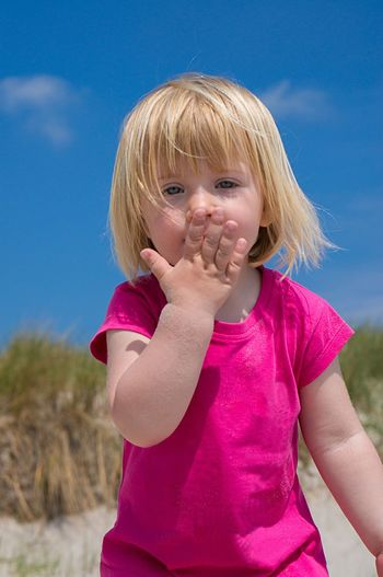 little girl kissing her hand Blue Sky Cute Sweet Summer On The Beach Caucasian Kissing Hand Kiss Hand Blonde Girl Beatyfulgirl Beautiful Beach Child Childhood Blond Hair Children Only Girls One Person Human Body Part Outdoors Day Only Girls People Portrait Close-up Nature Human Hand One Girl Only Casual Clothing Sky The Portraitist - 2018 EyeEm Awards