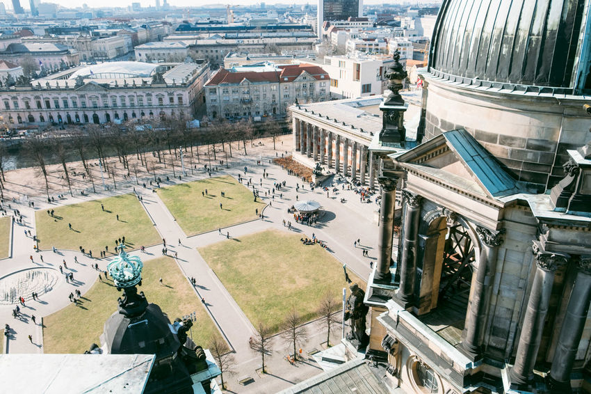Berlin Dome  Berliner Dom Altes Museum Architecture Building Building Exterior Built Structure City Cityscape Day High Angle View History Incidental People Lustgarten Nature Outdoors Place Of Worship Religion Residential District Spirituality Tourism Travel Travel Destinations