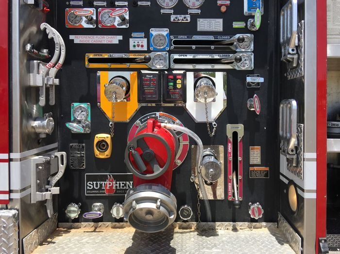 No People Day Gauge Technology Fire Engine Close-up dials industrial pump Land Vehicle