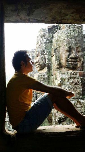 Hello World That's Me Bayon Temple Cambodia