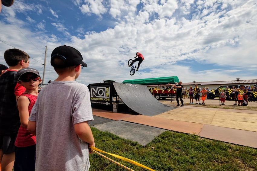 Nowear BMX Team Nebraska State Fair September 1, 2018 Grand Island, Nebraska Camera Work Check This Out Composition Event EyeEm Best Shots FUJIFILM X-T1 Fujinon 10-24mm F4 Getty Images Grand Island, Nebraska Nebraska State Fair NowearBMX Photojournalism Stunt Action Adult Bicycle Bmx  Boys Child Childhood Cloud - Sky Day Enjoyment Extreme Sports Eye For Photography Eyeforphotography Freestyle Group Of People Incidental People Leisure Activity Lifestyles Males  Men Nature Outdoors People Real People S.ramos September 2018 Skill  Sky Spectator Sport Tricks Women