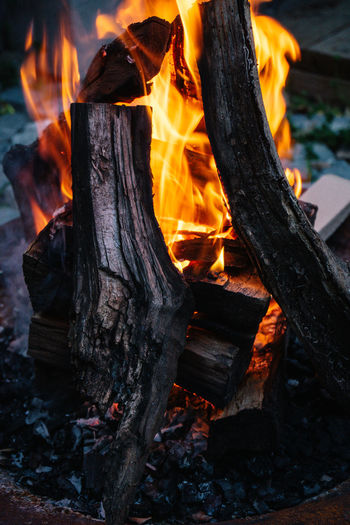 Burning Fire Fire Burning Flame Fire - Natural Phenomenon Wood - Material Heat - Temperature Wood Log Firewood Tree Nature Orange Color Close-up No People Glowing Bonfire Timber Outdoors Land Night Campfire Pit
