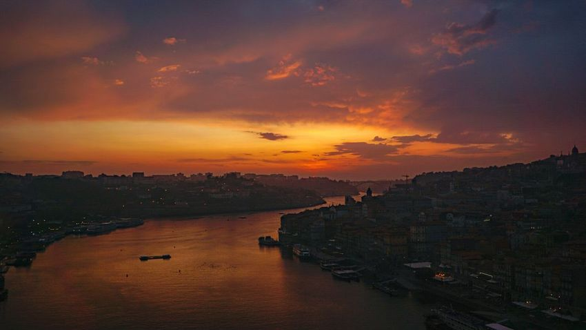Sunset Travel Destinations Reflection Vacations Landscape Cityscape No People Tourism Travel City Cloud - Sky Outdoors Water Business Finance And Industry Beauty Night Sky Summer Nautical Vessel Multi Colored The Week On EyeEm Porto Building Exterior Tranquil Scene Wallpapers