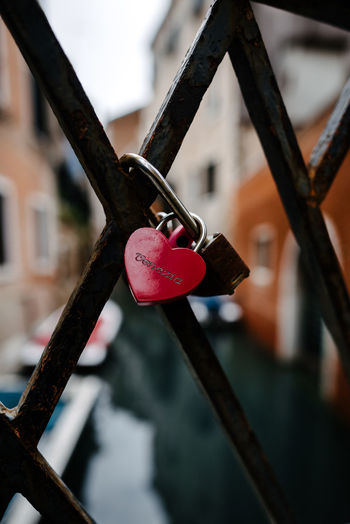 Venice Venice, Italy Focus On Foreground Close-up Metal Lock Day Safety Hanging Padlock No People Love Security Protection Positive Emotion Love Lock Outdoors Railing Emotion Heart Shape Built Structure Nature Safe
