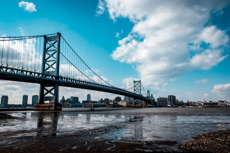 Landscape_Collection Philadelphia Built Structure Architecture Sky Connection Water Bridge Bridge - Man Made Structure Cloud - Sky Building Exterior Transportation City Travel Destinations River