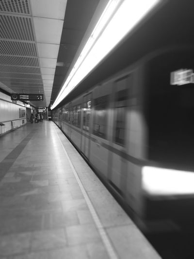 Transportation Train - Vehicle Railroad Station Public Transportation Subway Train Railroad Station Platform Travel Blurred Motion Rail Transportation Indoors  Motion No People City Commuter Train Day Wien Vienna  EyeEmNewHere EyeEm Selects Close-up