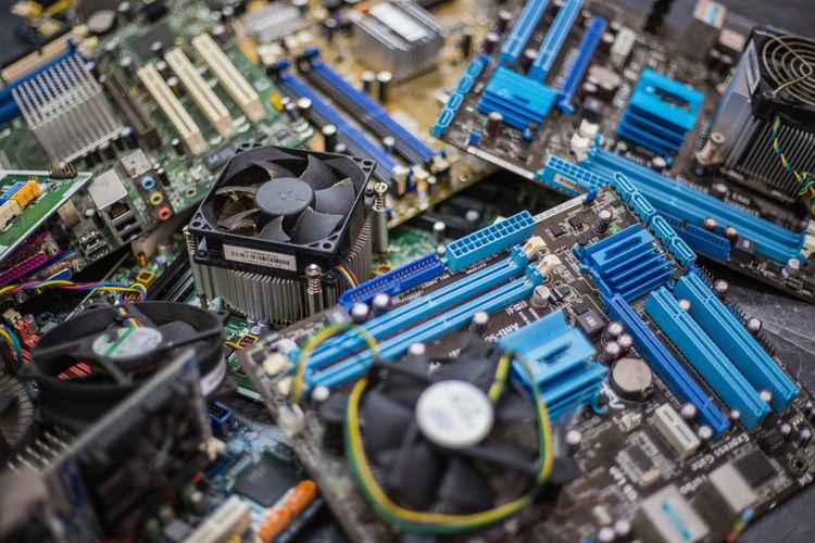 High angle view of circuit board