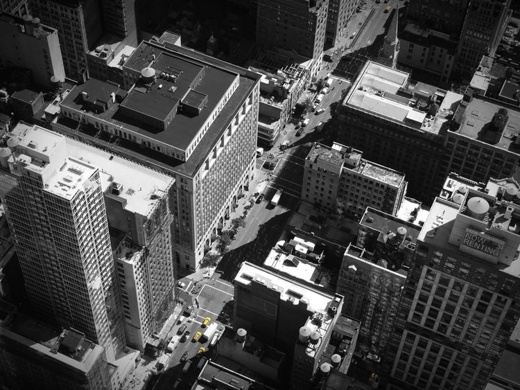 EyeEmNewHere Black & White Black And White Empire State Of Mind Empire State Building Skyscraper Taxi New York Taxi New York City Streets New York ❤ New York City New York Black White Yellow Architecture Building Exterior Built Structure City High Angle View Skyscraper Cityscape Modern Travel Destinations Outdoors Day