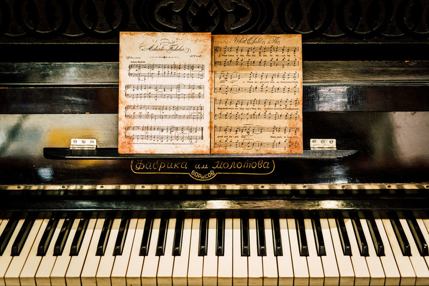 Antique Arts Culture And Entertainment Classical Music Close-up Day Indoors  Music Musical Instrument Musical Note No People Old-fashioned Piano Piano Key Sheet Music