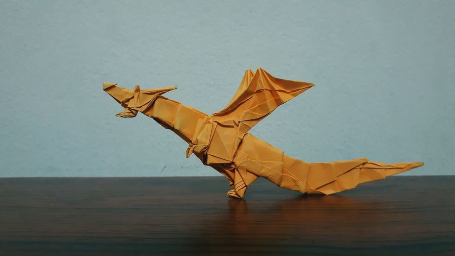 Close-up of origami on table