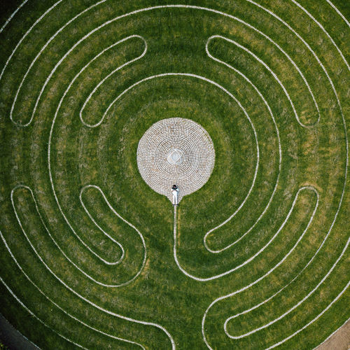 High angle view of person in maze