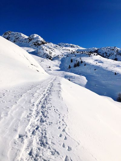 Snow Path Snow Winter Cold Temperature Tranquil Scene Nature Weather Beauty In Nature Scenics White Color Tranquility Day Outdoors Snowcapped Mountain Mountain No People Landscape Clear Sky