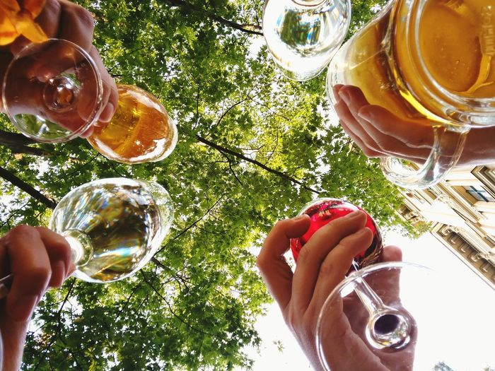 Low Angle View Of Hands Holding Alcohol