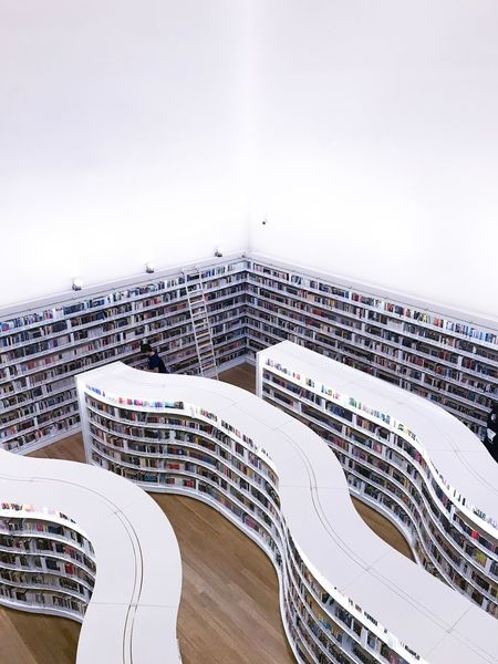 Wavy book shelves - library@orchard Books Library Day Copy Space Architecture Built Structure