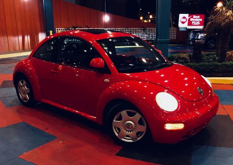 2000 Volkswagen Beetle 2000 VW Volkswagon New Beetle Red Car Mode Of Transportation Motor Vehicle Transportation Land Vehicle Night