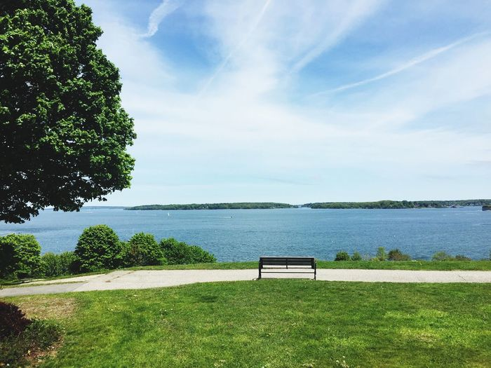 Tranquil Scene Tranquility Sky Beauty In Nature Day Tree Green Color Newengland Eye4photography  EyeEmNewHere Water Bench Calming Views Portland Maine Maine Northeast Coast Outdoors Beauty In Nature Eastcoast IPhone Photography IPhone Iphone6