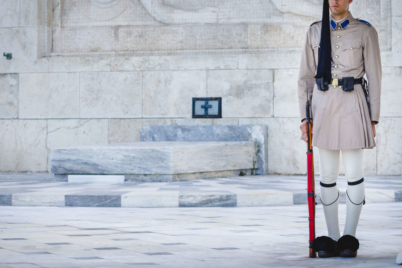 Guard in front of the Tomb of the Unknown Soldier, in Athens Athens Capital Cities  Culture Greek Parliament Greek Symbols Guard Military Outdoors Syntagma Square Tradition Uniform