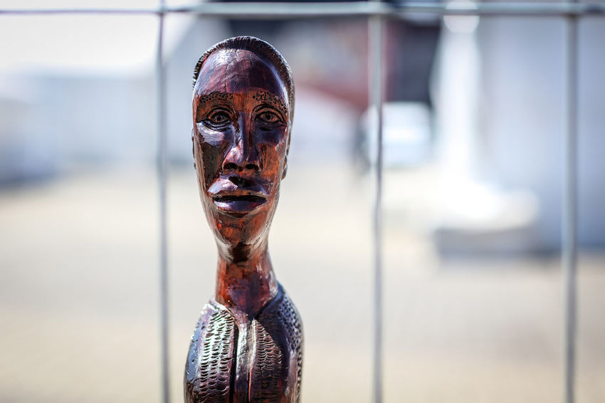 African Sculpture African African Art African Crafts South Africa Art Art And Craft Craft Day Focus On Foreground Human Representation Mask Mask - Disguise Outdoors Portrait Sculpture