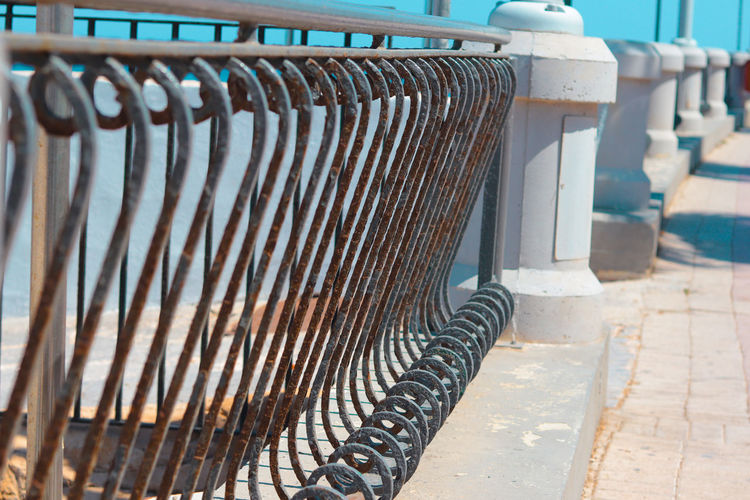 Close-up of old rusty railing